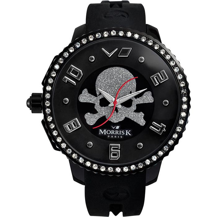 《MORRIS K》 骷顱頭 S指針晶鑽休閒錶MK13075-CA03-黑銀/45mm
