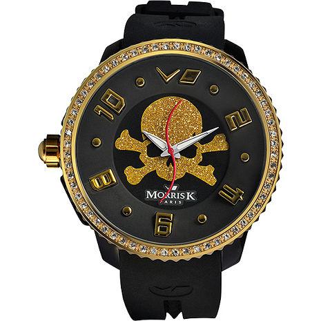 《MORRIS K》 骷顱頭 S指針晶鑽休閒錶MK13065-HB03-黑x金/50mm