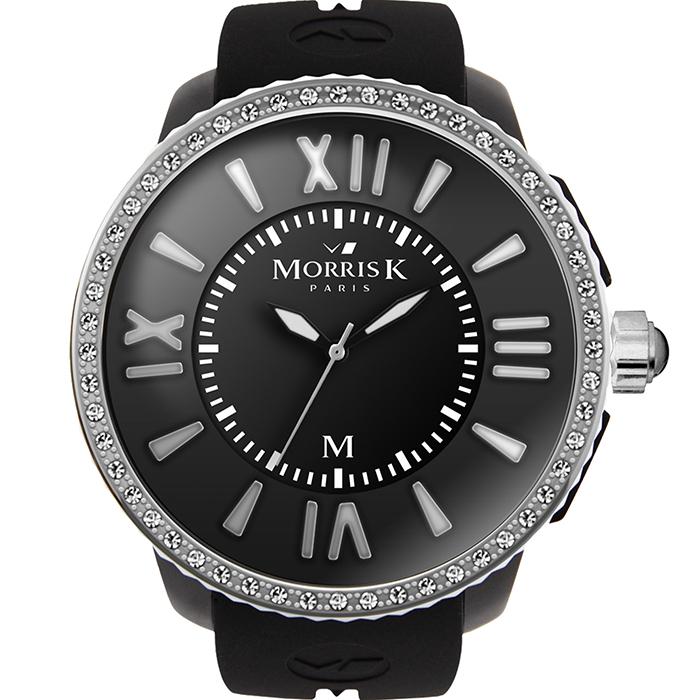 《MORRIS K》 「獨一無二」晶鑽限量錶款MK11305-CM203 (黑+銀框/45mm)