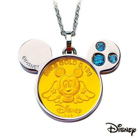 【迪士尼金飾】可愛天使米奇黃金/白鋼項鍊