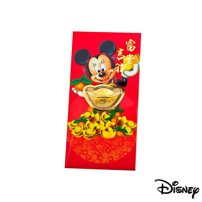 Disney迪士尼系列金飾-黃金元寶紅包袋-吉祥美妮款