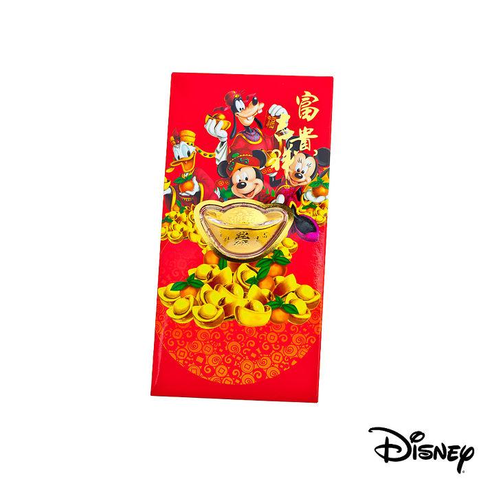 Disney迪士尼系列金飾-黃金元寶紅包袋-迪士尼家族款