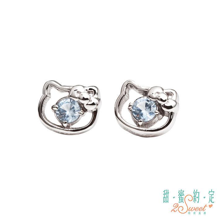 甜蜜約定 HelloKitty 幸運小物kitty純銀耳環-粉藍