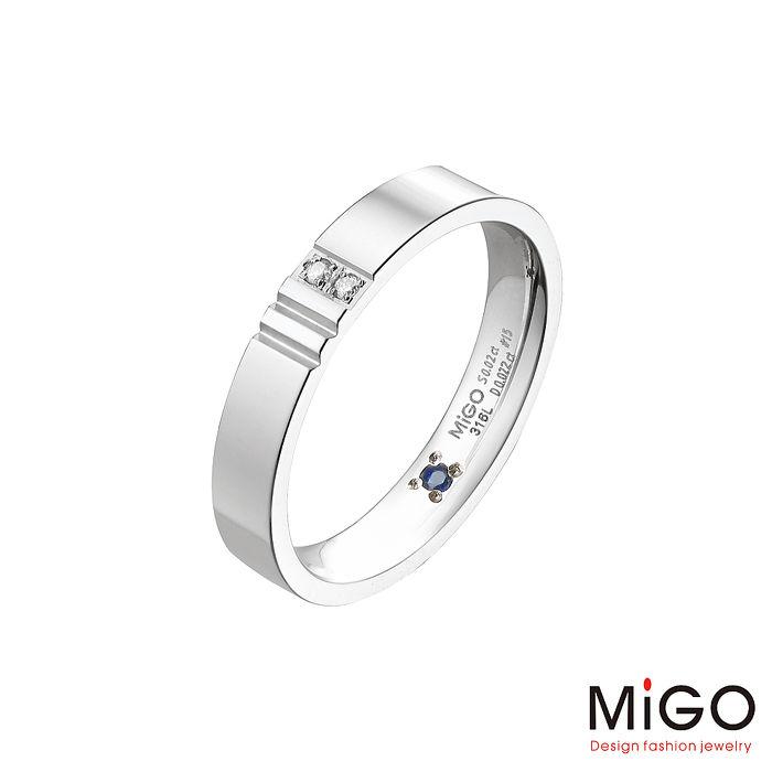 MiGO 相伴鑽石/藍寶石/白鋼男戒指國際戒圍#14