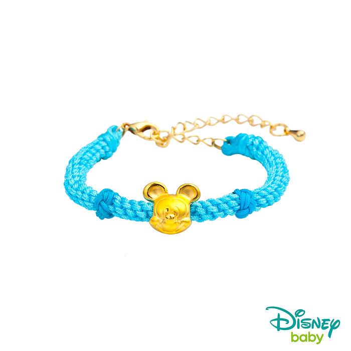 Disney迪士尼金飾 黃金編織手鍊-平安結米奇款