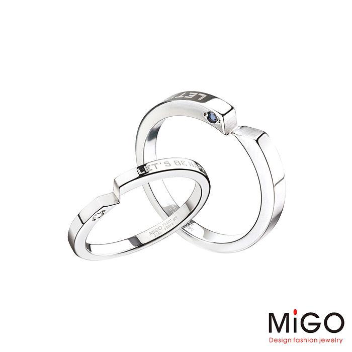 MiGO 牽手鑽石/藍寶石/白鋼成對戒指男戒圍#16/女戒圍#12