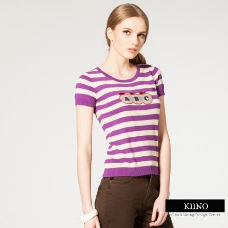 【KIINO】舒適絹絲活力貼布繡圓領針織衫(紫)L-2L