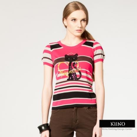 【KIINO】奢華植絨迷樣貓燙鑽圓領針織衫(桃紅)M-2L