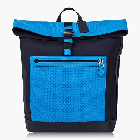 【COACH旅行必備】尼龍 / 背包 / 後背包_藍黑色