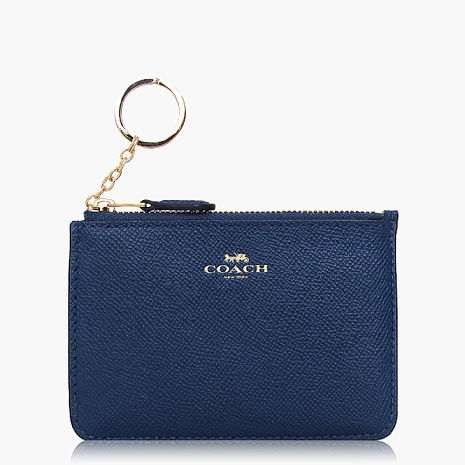 【COACH零錢收納】皮革 / 鑰匙圈 / 零錢包 藍色