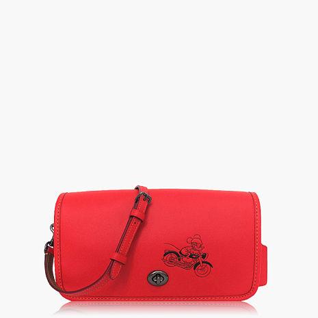 【COACH輕便小包】皮革 / 側背 / 斜背包(米奇限定款) 珊瑚紅