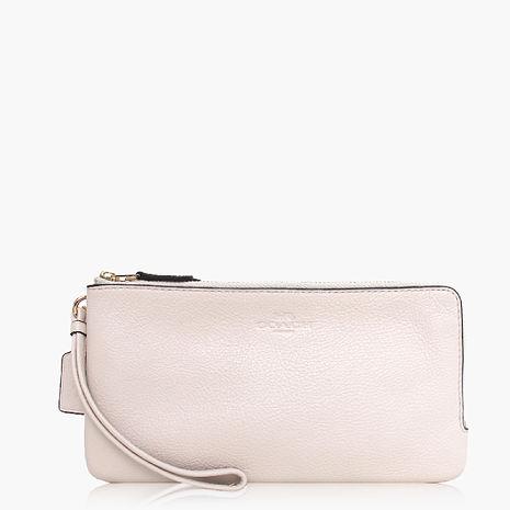 【COACH攜帶便利】皮革 / 晚宴包 / 手拿包(大款) 白色