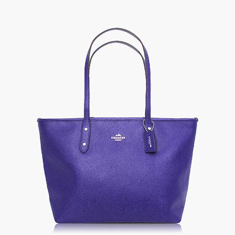 【COACH實搭耐用】皮革 / 手提 / 肩背托特包 紫色