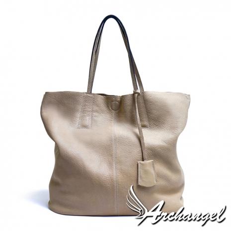 阿卡天使  進口牛皮 歐風時尚 Mayer兩用托特包 自然深米白B546-WH