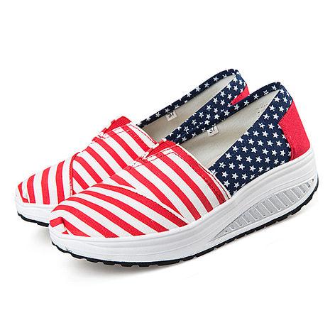 【Alice韓系館】Y776-6學院紅白條控星星健走鞋- 預購紅38
