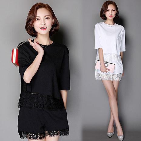 【韓國K.W.】KQ248浪漫情緣蕾絲洋裝式套裝 (預購)白XL