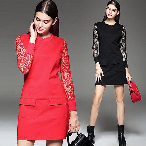 【韓國K.W.-歐美】KBM1153蕾絲拼接雙口袋長袖洋裝 (預購)