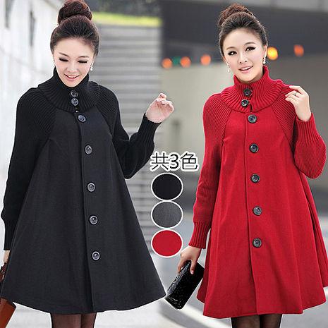 【韓國K.W.】M~L限量優雅高領洋裝式高領毛呢外套(預購)黑L