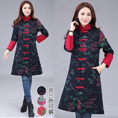 【韓國K.W.】M~XL限量中國焦點美人彩繪風顯瘦版型鋪棉外套(預購)紅L