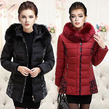 【韓國K.W.】XL-4XL限量高貴毛領中長款羽絨棉印花外套(預購)黑3XL