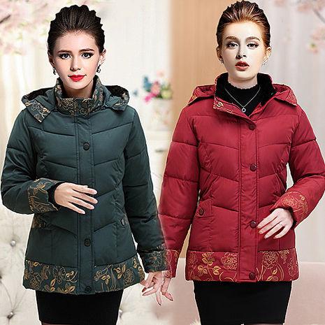 【韓國K.W.】XL-4XL限量高貴連帽繡花優雅保暖羽絨棉印花外套(預購)綠XL