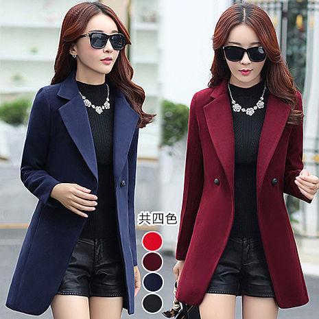【韓國K.W.】XL-3XL限量極暖抗寒西裝大翻領毛呢素面大衣(預購)黑3XL