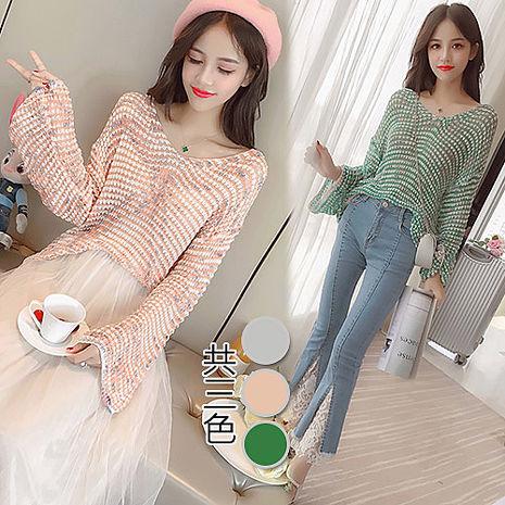 【韓國K.W】KM699韓系甜美風寬鬆毛衣罩衫 F(預購)綠F