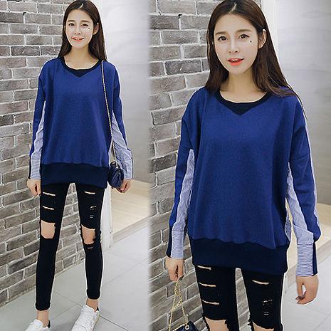 【韓國K.W】KM675 休閒寬鬆素色條紋拼接顯瘦上衣F-藍(預購)