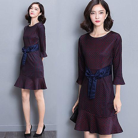【韓國K.W】KBN2789 簡約時尚蝴蝶結繫腰修身洋裝L~XL(預購)紫XL