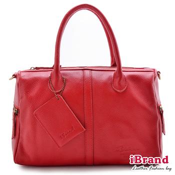 i Brand 真皮包包-歐美時尚-Simply真皮米蘭達波士頓包-魅力紅