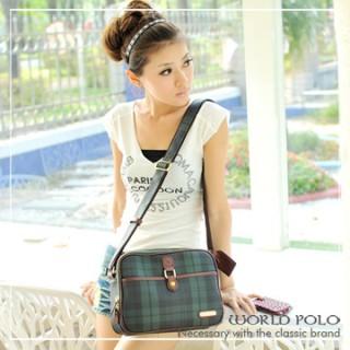 【World Polo】斜側背復古中方包-綠格   WP88-03407