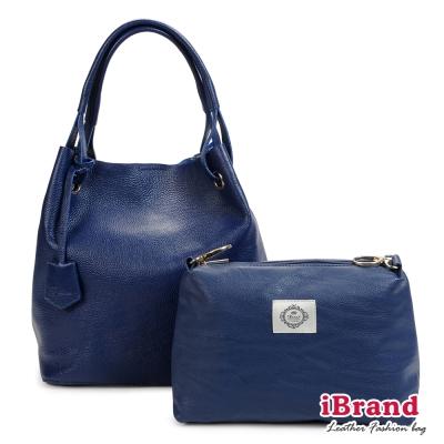 i Brand 真皮包包-自在韓風-名模時尚凱蒂垂墜包-深海藍