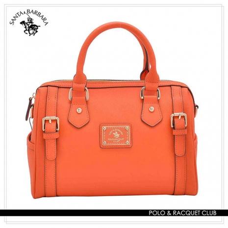 SANTA BARBARA POLO - 幸福微糖系列 手提/斜背兩用皮飾波士頓包-香橙橘 SB08-03009