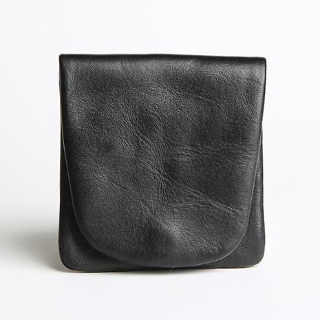 直筒對摺式真皮零錢印章包黑