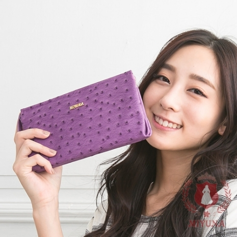 【MIYUNA】韓國夢幻訂製鴕鳥紋真皮雙袋長夾-華麗紫