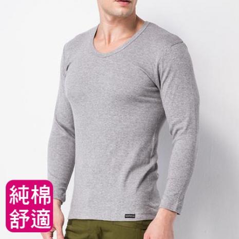 【MORINO摩力諾】男內衣長袖棉毛V領衫-淺灰XL