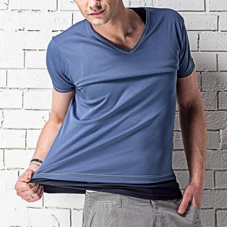 【MORINO摩力諾】吸汗速乾短袖V領衫-淺藍色(2件組)L