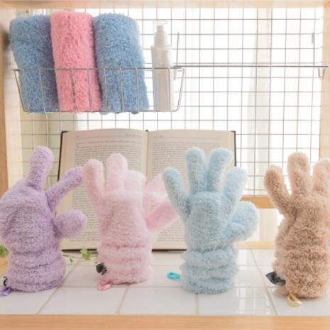 【MORINO摩力諾】超細纖維五指按摩手套-紫色