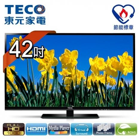 【東元TECO】42吋晶鑽系列高畫質LED顯示器+視訊盒/TL4262TRE+TS1301TRA