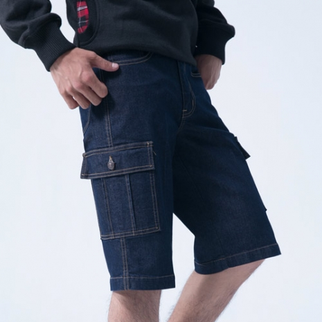 FATAN 多功能貼袋五分牛仔褲3L