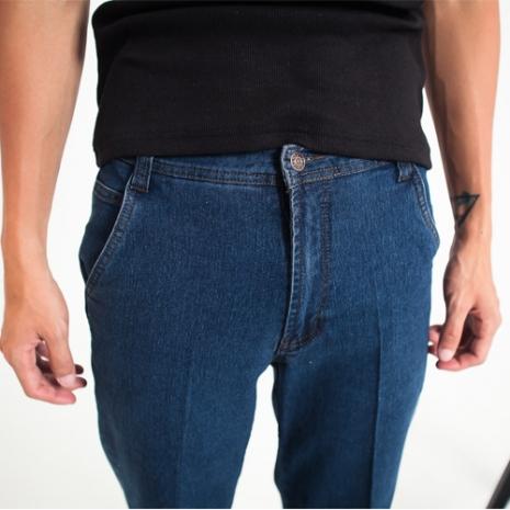 FATAN 斜口袋伸縮中直筒牛仔褲-共二色深藍M