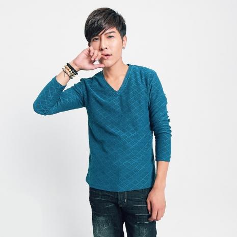 FATAN 菱格V領針織毛衣-藍