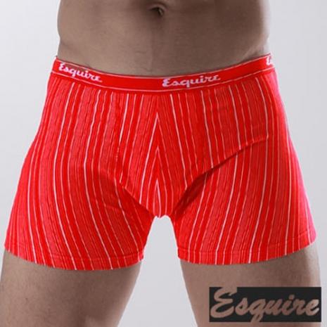 Esquire 奈米銀男性細紋平口內褲(紅色三件組)XL