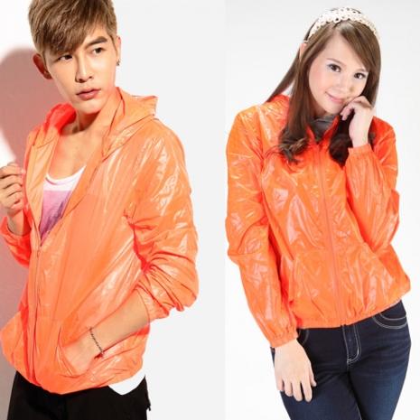 FATAN 超輕薄亮色防曬外套-橘色S