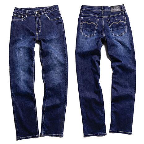 SCORPION 深藍金線直筒牛仔褲34