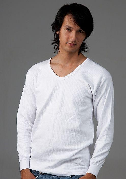 【三福】精梳棉V領雙面長袖內衣(二件組) S-LS