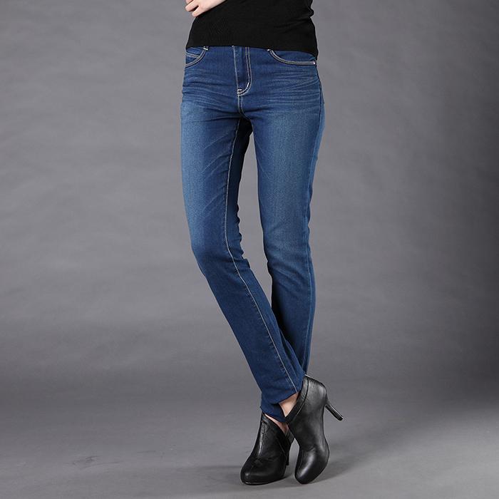 SCORPION 韓版中腰伸縮小直筒牛仔褲