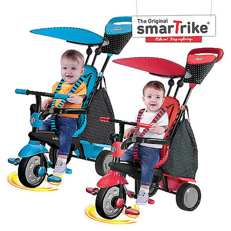 福利品 英國smarTrike史崔克英倫俏皮嬰幼4合1觸控三輪車(天空藍、櫻桃紅)櫻桃紅