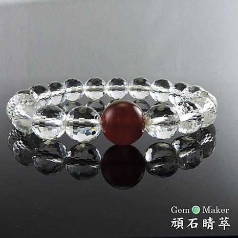 【GemMaker頑石睛萃】護身白水晶紅瑪瑙手珠