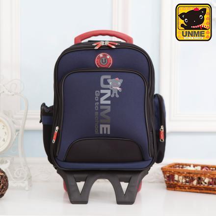 【UNME】減壓省力兒童拉桿後背包 可分離(深藍3327)
